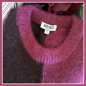 KENZO Pink Colorblock Alpaca/Wool Blend Sweater